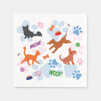 Puppies and Kittens Napkin