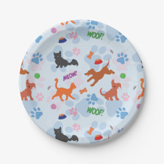 Puppies and Kittens Paper Plate