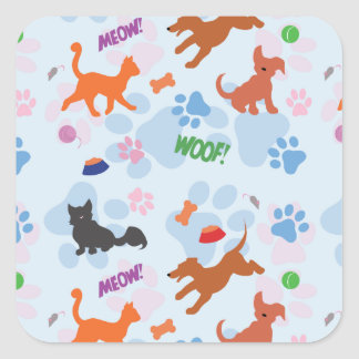 Puppies and Kittens Square Sticker