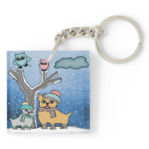 puppies and Owls Keychain