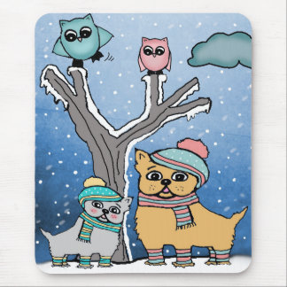 puppies and Owls Mouse Pad