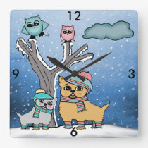 puppies and Owls Square Wall Clock