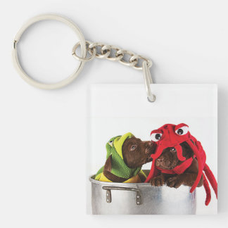 Puppies at play keychain