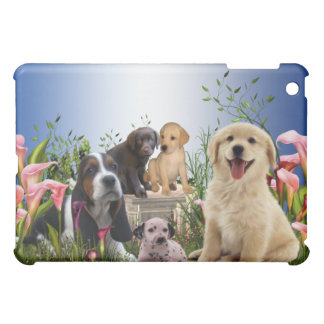 Puppies Calla Lily Courtyard Garden Blue  Case For The iPad Mini