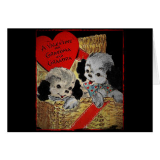 Puppies for Grandparents Valentine Card
