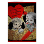 Puppies for Grandparents Valentine Greeting Card