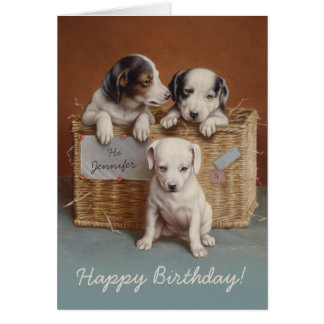 Puppies in a basket CC0063 Carl Reichert Birthday Card