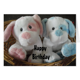 Puppies in a Basket - Happy Birthday Card