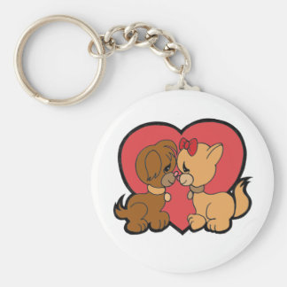 Puppies in Love Keychain