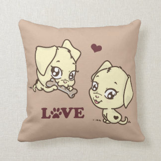 Puppies in Love Throw Pillow