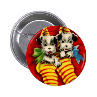 Puppies in Stockings Pinback Buttons