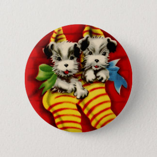 Puppies in Stockings Pinback Button