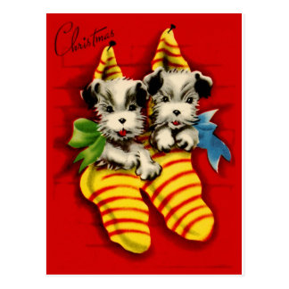 Puppies in Stockings Postcard