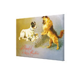 Puppies in the Straw, Victorian postcard Stretched Canvas Print