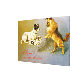 Puppies in the Straw, Victorian postcard Canvas Print
