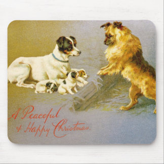 Puppies in the Straw, Victorian postcard Mouse Pad