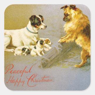 Puppies in the Straw, Victorian postcard Square Sticker