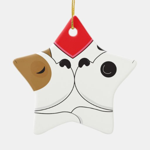 Puppies Kissing Double-Sided Star Ceramic Christmas Ornament