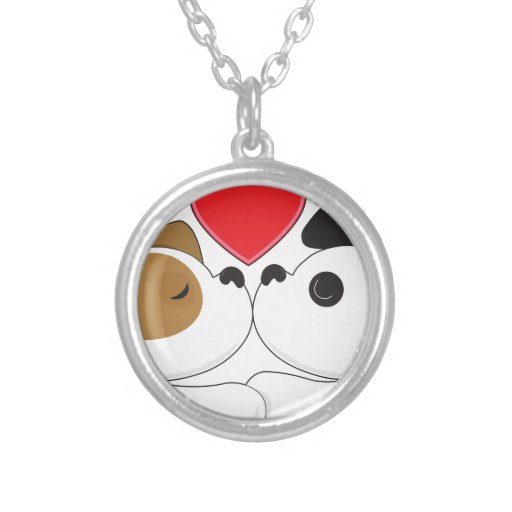 Puppies Kissing Round Pendant Necklace