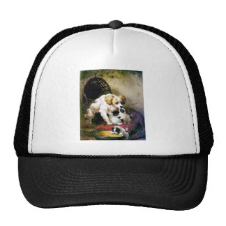 Puppies Mother Dog painting Hat