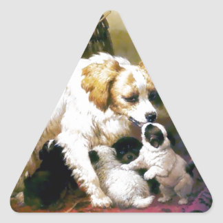 Puppies Mother Dog painting Triangle Sticker