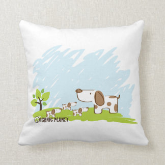 Puppies Organic Planet Throw Pillow
