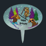 "Puppies Skiing Happy Birthday Cake Topper<br><div class=""desc"">Graphic illustration of cute puppy dogs on a ski vacation.  Customize with your message for any special occasion.</div>"