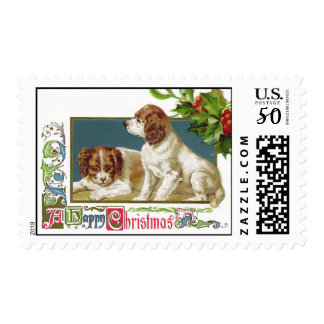 Puppies Vintage Christmas Stamps