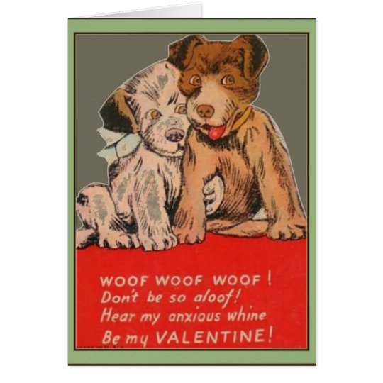 Puppies Vintage Valentine Greeting Card