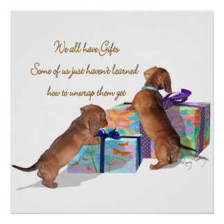 Puppies with a message poster