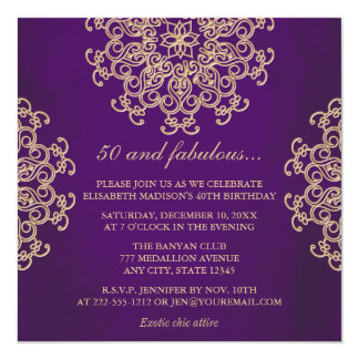 PUPPLE AND GOLD INDIAN INSPIRED BIRTHDAY INVITATION