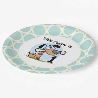 Puppy 1st Birthday Paper Plates 9 Inch Paper Plate
