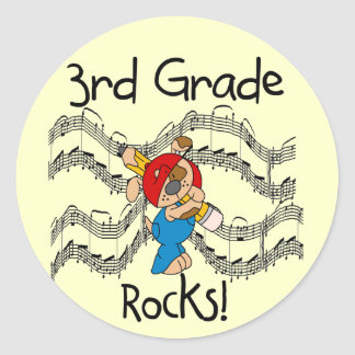 Puppy  3rd Grade Rocks Tshirts and Gifts Classic Round Sticker