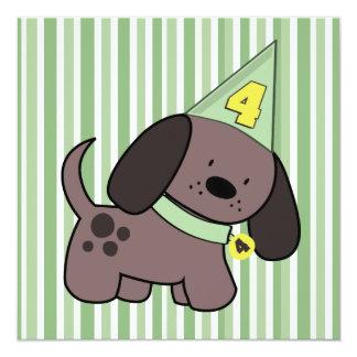 Puppy 4th Birthday Party Kids Lime Custom Invite