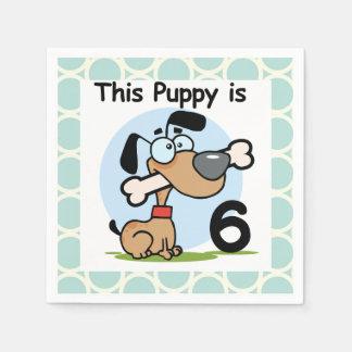 Puppy 6th Birthday Paper Napkins