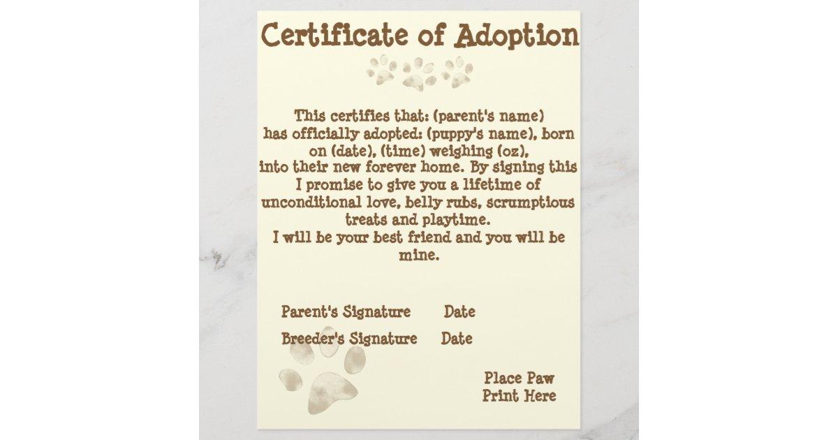 Puppy Adoption Certificate Zazzle
