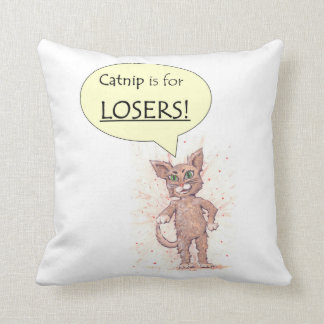 Puppy and Assertive kitten Throw Pillow