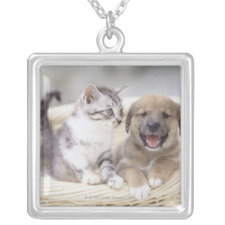 Puppy and Baby Cat Silver Plated Necklace