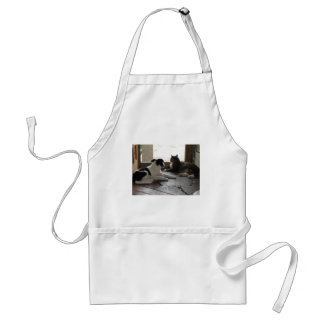 Puppy and Cat Buddies Relaxing by the Screen Door Adult Apron