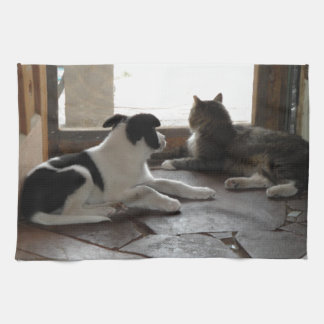 Puppy and Cat Buddies Relaxing by the Screen Door Hand Towels