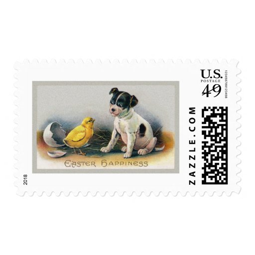 Puppy and Chick Vintage Easter Postage Stamp