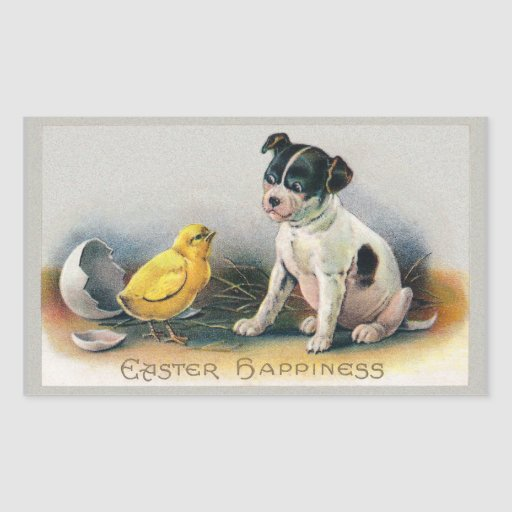 Puppy and Chick Vintage Easter Rectangular Sticker