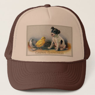Puppy and Chick Vintage Easter Trucker Hat