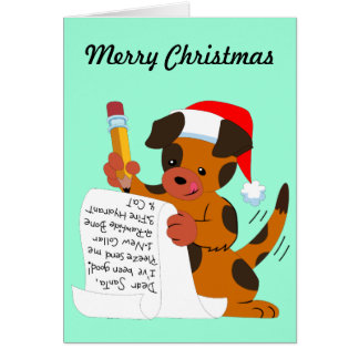 Puppy And Christmas Wish List Card