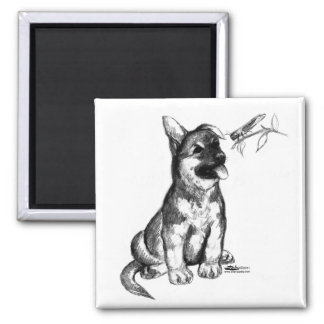 Puppy and Grasshopper 2 Inch Square Magnet