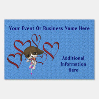 Puppy And Hearts Business Or Event Yard Sign