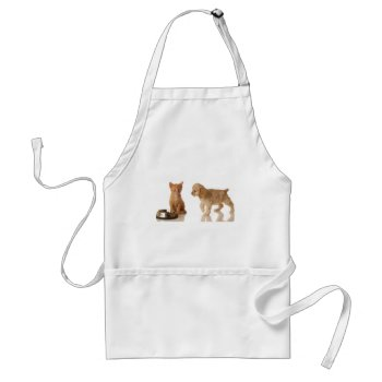 Puppy And Kitten At Food Dish Adult Apron by creativeconceptss at Zazzle