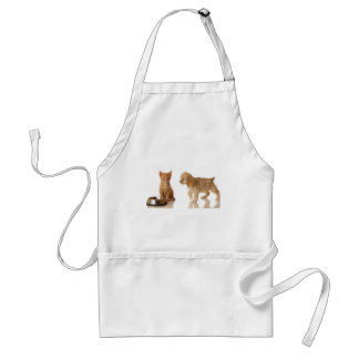 puppy and kitten at food dish aprons