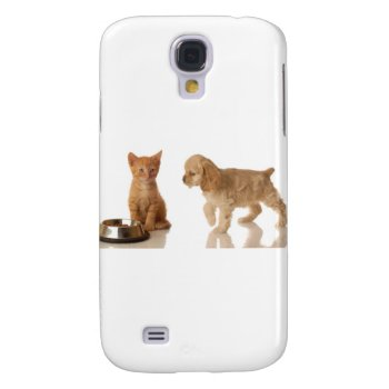 Puppy And Kitten At Food Dish Galaxy S4 Case by creativeconceptss at Zazzle