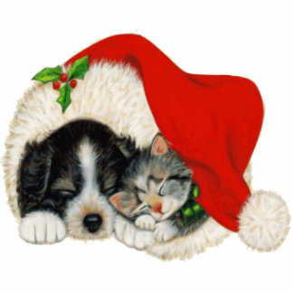 Puppy and Kitten Christmas Decoration Statuette